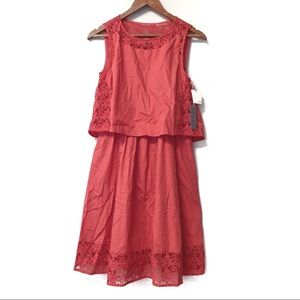 Chelsea28 Coral Spice Embroidered Dress